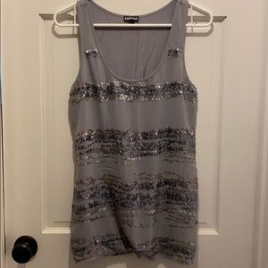 Express sequined sleeveless top